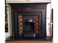 Cast iron /tiled fire surround + grate + hearth, as new