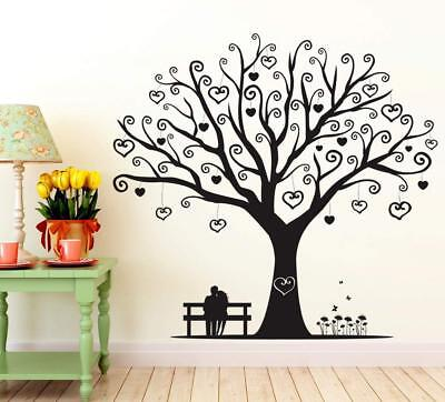 Valentine Couple Under Love Tree Wall Stickers Vinyl Decal Home Decor Removable ()
