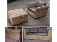 Rattan & Leather Suite, 2-Seater Sofa, 2 Armchairs, Glass Top Coffee Table, Conservatory, Patio