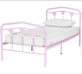 Brand new pink metal single bed frame