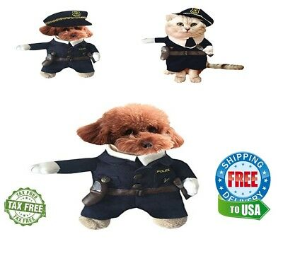 Halloween Pet Dog Cats Puppy Funny Hot Costumes Policeman Suits  Small - Small Puppy Halloween Costumes