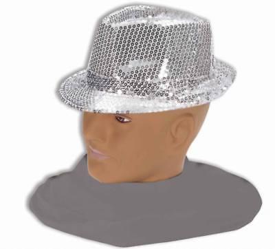Erwachsene Pailletten Silber Fedora Hut All That Jazz Kostüm Zubehör (All That Jazz Erwachsene Kostüme)