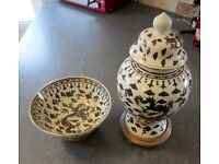 Lovely lidded vase & bowl by Overjoy Hong Kong . Hand painted porcelaine