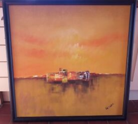 Large Framed Contemporary Abstract Painting - Oil on Canvas
