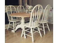 Solid pine shabby chic table and 4 chairs farmhouse farrow and ball can deliver
