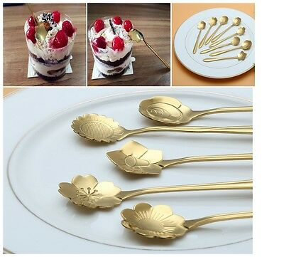 CHICHIC Stainless Steel Flower Coffee Spoon Tea Spoon, Set of 8, Gold