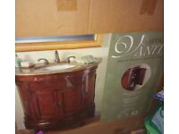 NEW BOXED Nice quality granite top, wooden base bathroom unit