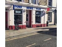 Newsagents Shop, Duns, Berwickshire, For Sale as going concern FREEHOLD or LEASEHOLD