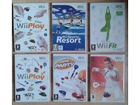 LOT of 6 Wii games.PLAY (x2)-ACTIVE-PARTY-SPORT RESORT-FIT-Video games.BARGAIN £15