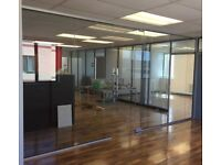 USED AND NEW 10MM TOUGHENED GLASS PARTITIONS IN MANY SIZES INC DOORS