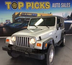 2003 Jeep TJ 2 DOOR, SPORT, 5 SPEED MANUAL, LOW LOW KMS!