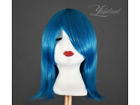 Short blue wig, high quality synthetic hair