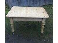 ANTIQUE VICTORIAN PINE TABLE WITH DRAWER