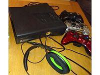 Xbox 360, head set and hand set.