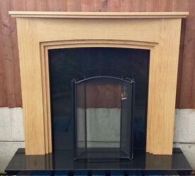 "Woodform 52"" Ullswater Natural Oak Mantle c/w 54"" Black Granite Back and Hearth (New)"