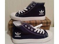 NEW ADIDAS SUMMER TRAINERS - NEW WITH BOX - NAVY COLOR - SIZE: 3.5, 4.5, 5.5, 6.5 & 7 AVAILABLE