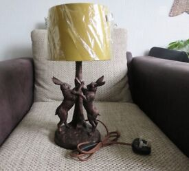 new DUNHELM Highlands Bronzed Fighting Hares Electric Lamp