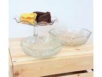 Diamond Wedge Cut Crystal Glass Cake Stand Fruit Bowl 3 Piece Set