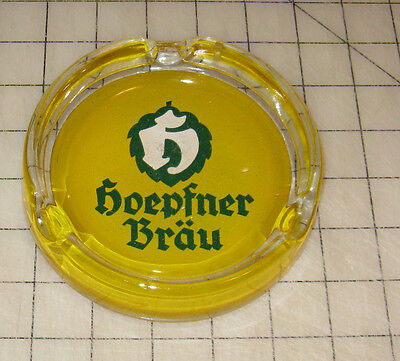 "Vintage HOEPFNER BRAU German Beer ""Yellow Label"" Glass Ashtray - 5"" Diameter"