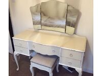 'Shabby Chic Cream Dressing Table 5 drawers with a matching stool and mirror