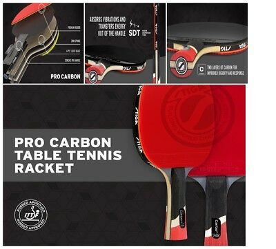 QUALITY STIGA Pro Carbon Table Tennis Racket Ping Pong Paddles Rubber Sport