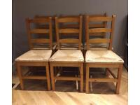 6 lovely wooden wicker base chairs