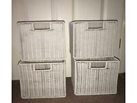 4 x White Plastic Coated Folding Storage Baskets