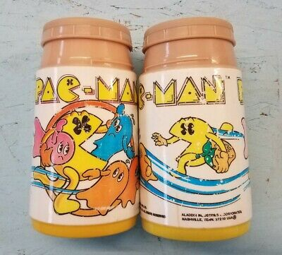 Vintage 1980 PAC-MAN Pacman Plastic Thermos lot for lunchbox by Aladdin. No lids