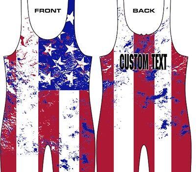 (USA flag wrestling singlet, custom text, powerlifting singlet)