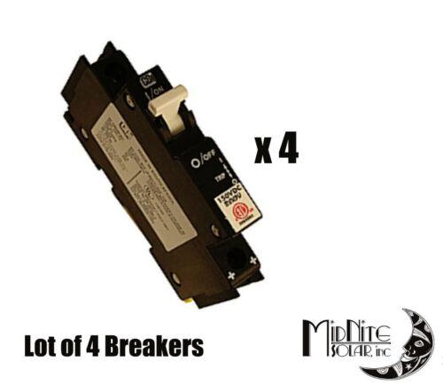 (LOT OF 4) MIDNITE SOLAR MNEPV15 CIRCUIT BREAKER 15A 150VDC 1-POLE DIN MOUNT