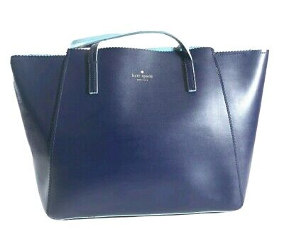Kate Spade Navy Blue Might Blue X-Large Leather Satchel Tote Bag Purse