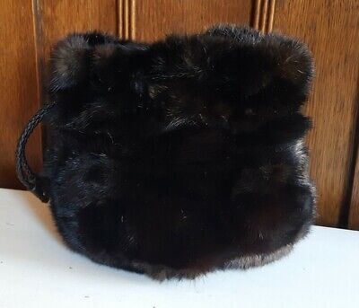 Falorni Italia Le Borse – Black Mink Small Purse w/Leather Pull-Tie Closure