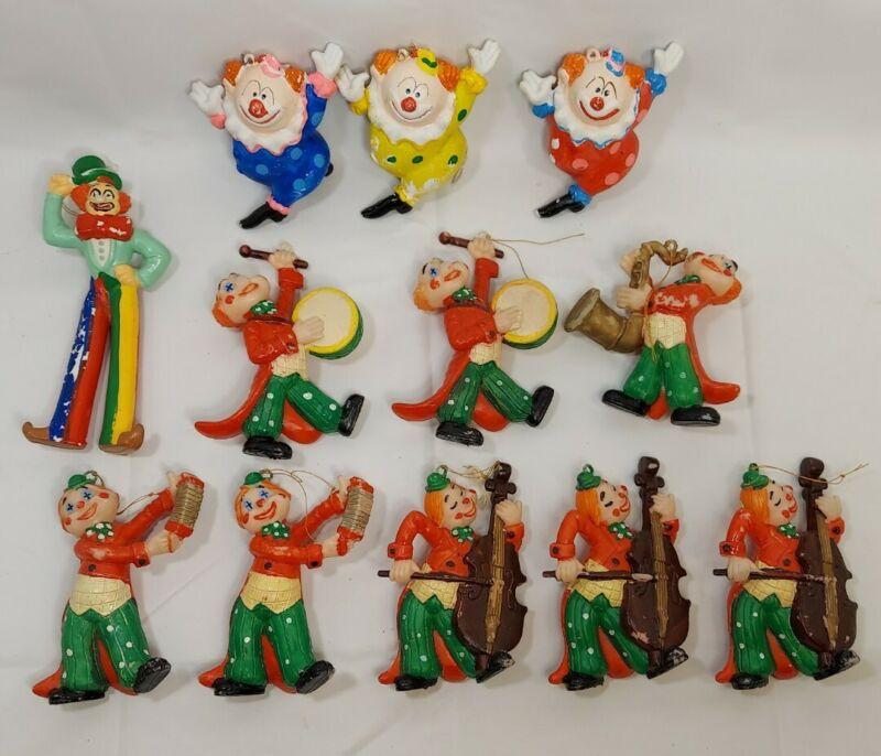 12 Vintage Christmas Ornaments Rare Carnival Circus Clowns Plastic Blow Mold