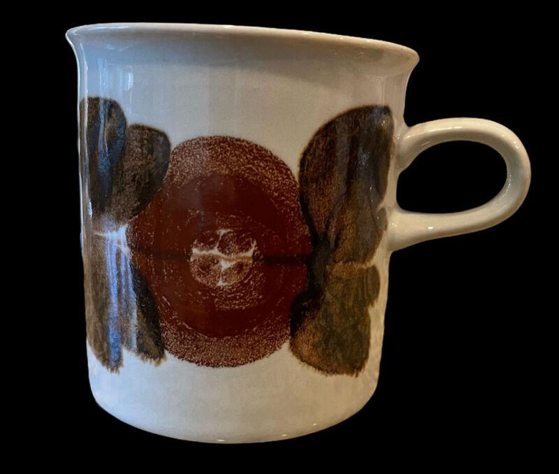 Ulla Procope Brown Rosmarin Anemone Tea Espresso Cup  1961-72 Arabia Finland