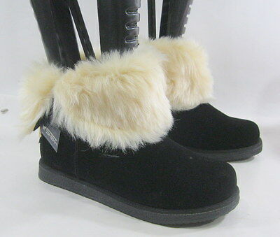 Black Winter Comfortable Flat Ankle Boot Fur Inside Gold Button Size 9.5