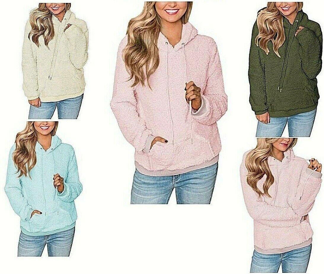 Women's Fleece Hooded Pullover Kangaroo Pocket Fluffy Soft Cozy Warm Sweater Activewear