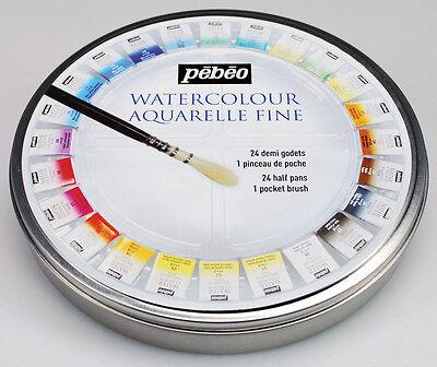 PEBEO ARTIST PAINTING WATER COLOUR AQUARELLE FINE 24 HALF PAN [ROUND METAL TIN]