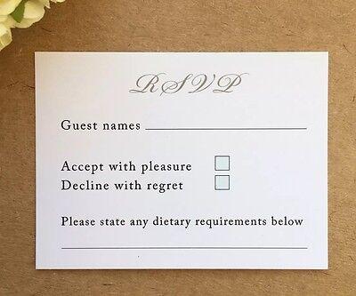 Menu Card Wedding Invitations (50 X Wedding RSVP Cards For Invitations *Envelopes Included* Insert Menu )