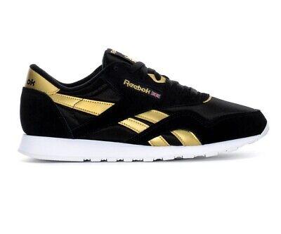 Reebok Classic Nylon Black Gold White DV6593 Mens Trainer Sneakers