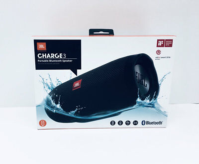 JBL CHARGE3  Portable Bluetooth Speaker - Black (New)