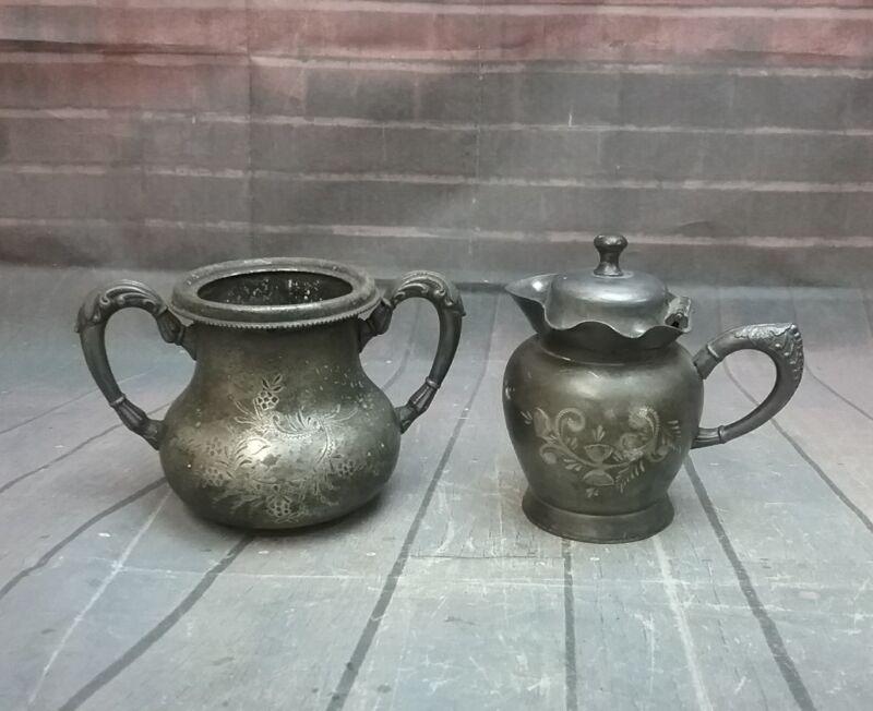 Antique,silverplate Quadruple Forbes Sugar Bowl 177 & Columbia Silver Co Creamer