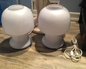 Pair Blue All Glass Mushroom Lamps Light Table Top