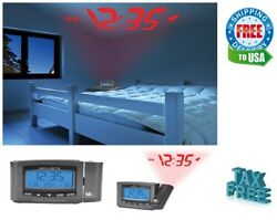 Digital Atomic Wall Ceiling Projection Clock Alarm Snooze & Indoor Temperature