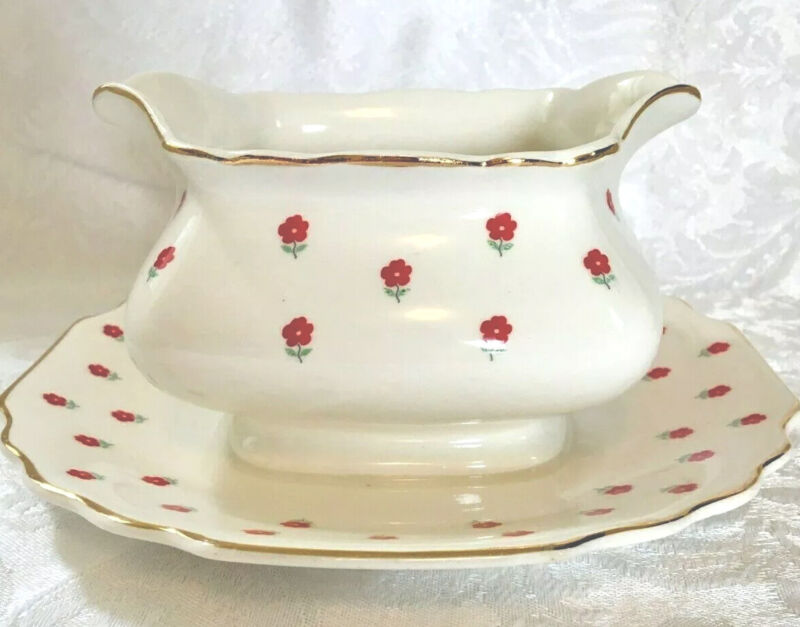 W S George Lido Blushing Rose/Dalrymple Gravy Boat with Attached Under Plate
