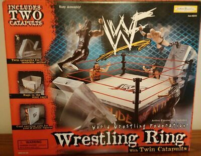 1998 WWF WRESTLING RING WITH TWIN CATAPULTS UNOPEN JAKKS PACIFIC RARE WWE AEW **