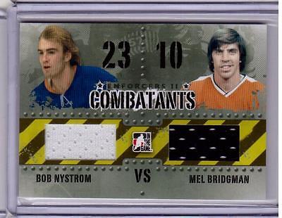 BOB NYSTROM VS MEL BRIDGMAN 13/14 ITG Enforcers Combatants Dual Jersey C-28