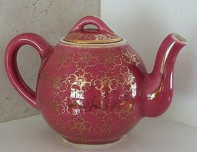 Vintage Hall Teapot and Lid w/ Gold French Flowers.  Collectible.  Stand.054
