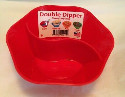 double dipper dish/bowl red plastic new