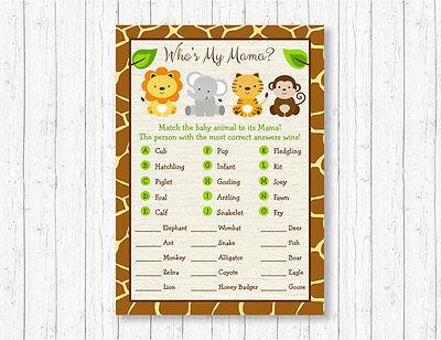 Cute Jungle Safari Animals Baby Shower Baby Animal Match Game Printable - Jungle Baby Shower Games