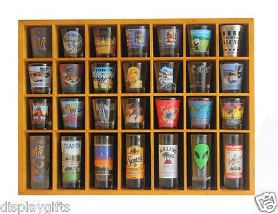 Shot Glass Case (28 Shot Glass Display Case  Rack Wall Shelves Shadow Box Holder Cabinet,)